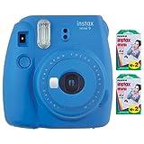 Fujifilm Instax Mini 9 Instant Camera (Cobalt Blue) with 2 x Instant Twin Film Pack (40 Exposures) (Color: Cobalt Blue)