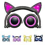 Cat Ear Headphones Purple LED Light up Glowing Kids Headsets for Girls/Woman/Children (Color: Purple)