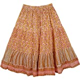 """TLB - Fire Bush Short Cotton Floral Skirt - Length: 29""""; Waist: 24""""- 32"""""""
