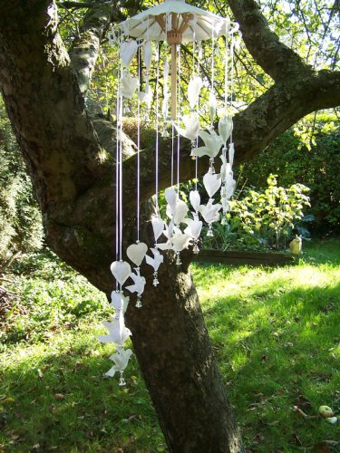 Doves and Hearts Paper Mobile Wind Chime. Handmade from Saar Paper.