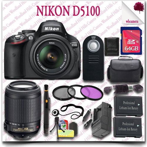 Nikon D5100 Digital Slr Camera With 18-55Mm Af-S Dx Vr (Black) + Nikon 55-200Mm Af-S Dx Vr Lens + 64Gb Sdhc Class 10 Card + 3Pc Filter Kit + Slr Gadget Bag + Wireless Remote 19Pc Nikon Saver Bundle