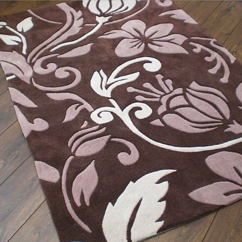 Damask Brown Cream Beige Large Luxury Thick Designer Modern Rugs 4 SIZES AVAILABLE, 160x220cm (5ft6''x 7ft4'')