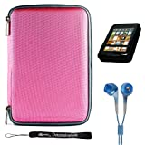 Pink Slim Stylish Hard Cover Nylon Protective Carrying Case Folio for Pandigital Novel 7&quot; Color Multimedia eReader + Indlues a 4-Inch Determination Hand Strap + Includes a Crystal Clear High Quality HD Noise Filter Ear buds Earphones Headphones ( 3.5mm Jack )