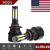 Globled 9005 HB3 200W 20000LM 4 Sides LED Headlights Bulb 6000K High Beam Foglight (Color: Black, Tamaño: 9005)