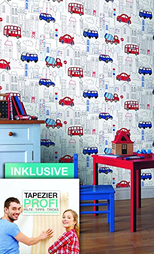 tapete kinderzimmer autos bus lkw stadt sch ne rot blaue niedliche tapete f r jungen und. Black Bedroom Furniture Sets. Home Design Ideas