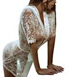 Fashion Lace Lingerie for Women Girl Sexy Dressing Gown Babydoll Bath Robe Nightwear (L, White) (Color: White, Tamaño: Large)