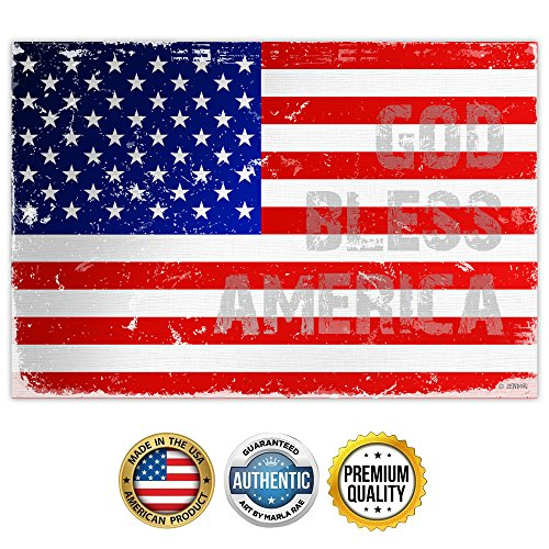 ZENDORI ART 'God Bless America' US Flag Wall Art - Made in USA (Poster on Canvas Paper, 18 x 12) (Tie On Dish Towels compare prices)