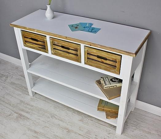 Comodino sideboard, colore: bianco e legno
