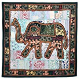 Little India Embroidered Applique Cotton Elephant Wall Hanging 523  (101.6 cm x 152.4 cm, Black and Blue,DLI3WHG523)