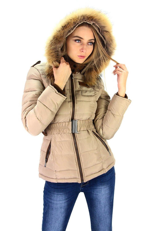 Moderne Jacke mit Kapuze und Echtfell Beige