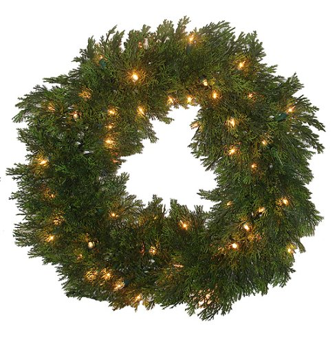Pre-Lit Artificial Cedar Pine Christmas Wreath