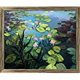ArtzFolio Colorful Pond With Beautiful Lotus Flowers - MEDIUM Size 21.6inch X 18inch (54.9cms X 45.7cms) Including 1 Inch Wide Frame - PREMIUM MUSEUM-GRADE CANVAS Wall Paintings With ANTIQUE GOLD COLOUR NATURAL WOOD FRAME: DIGITAL PRINT Wall Posters Art P