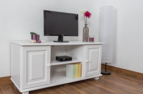 Meuble TV bois du pin massif blanc 001 - Dimensions: 55 - 118 - 47 cm (H - L - P)
