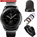 Samsung Galaxy Watch Smartwatch 42mm Stainless Steel Black (SM-R810NZKAXAR) with Wireless Charging Base Dock 5pc Nylon Replacement Straps Tempered Glass & 1 Year Extended Warranty (Tamaño: Galaxy Watch (42mm) Midnight Black Kit)