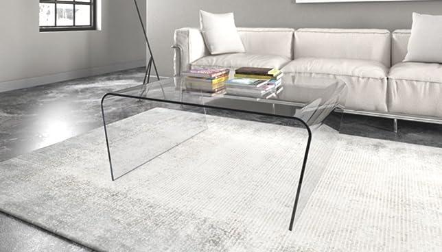 """Tavolino in vetro da soggiorno, ufficio. Elegante tavolino con """"Gambe Oblique"""" Cm 75x75xh.40 Finitura: Marrone, Art.T01D/06"""