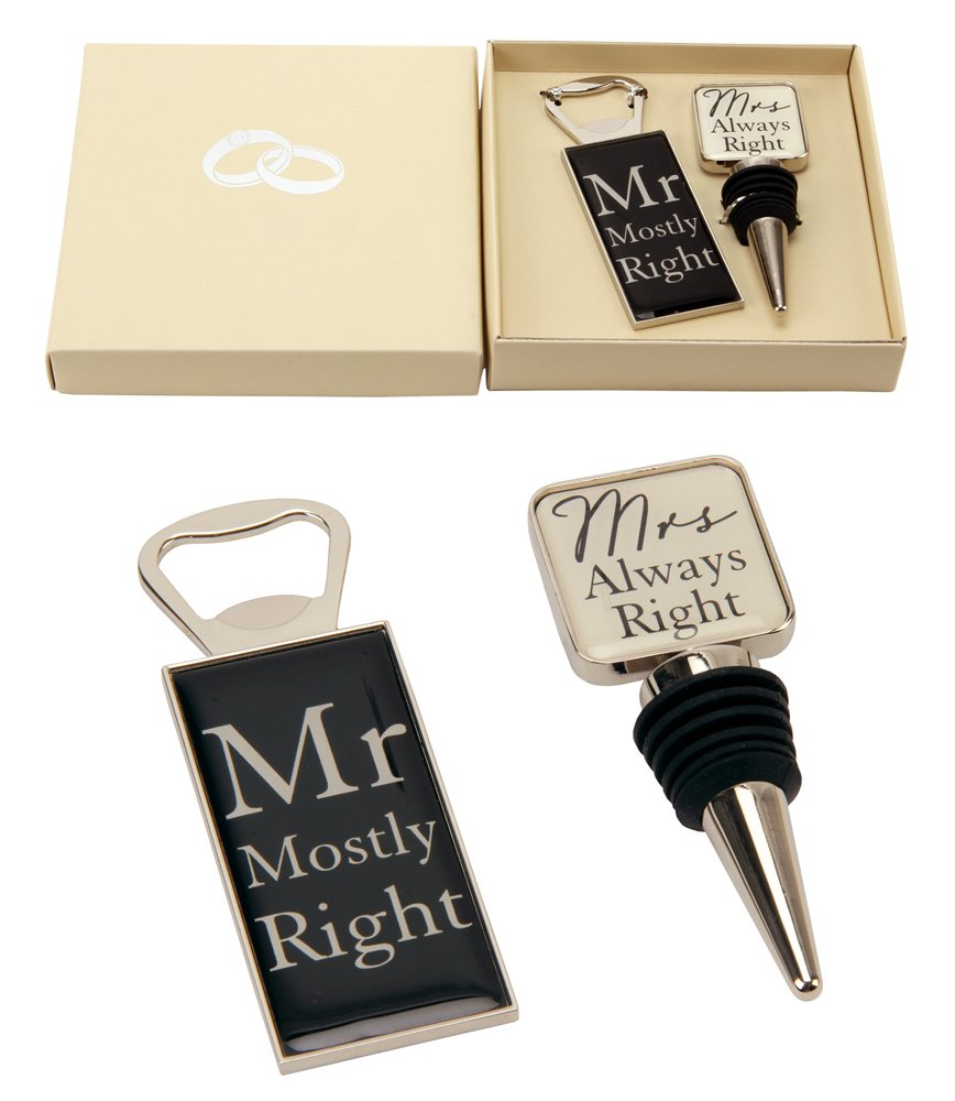 """Mr Right & Mrs Always Right"" Wine Bottle Stopper and Opener Special Gift Set By Haysom Interiors"