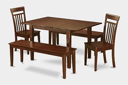 East West Furniture MLCA5C-MAH-W 5-Piece Dinette Table Set