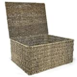 the Lucky Clover Trading Sea Grass Storage Box Basket with Lid, Large