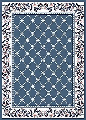 Multi-Color Traditional Oriental Area Rug Bordered Lines Persian Design Carpet Rugs