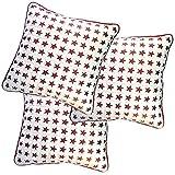 Belive-Me Stylish Velvet Stars White Cushion Covers (Set Of 3)