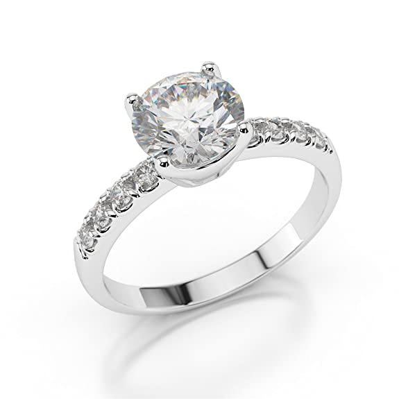 2/3 CT Pave Diamond Engagement Ring Round Cut Main Stone with Accents H/SI1 (Clarity Enhanced) 18ct White Gold