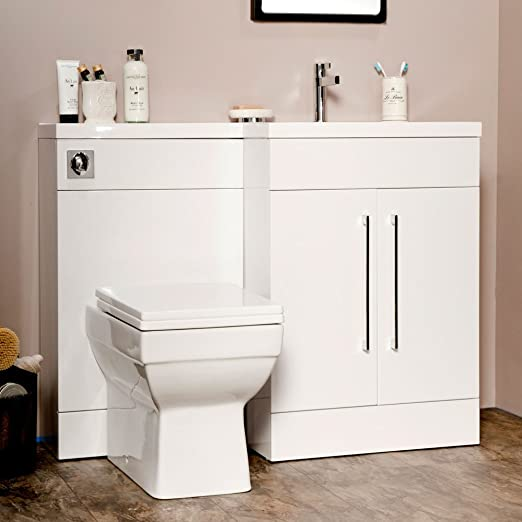 Manhattan 1095mm White Gloss L Shape Bathroom Combination Furniture Package (Right Hand)