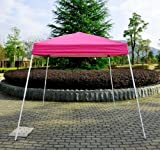 Outsunny Slant Leg Easy Pop-Up Canopy Party Tent, 8 x 8-Feet, Pink