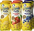 Gerber Graduates Puffs Cereal Snack, Naturally Flavored with Other Natural Flavors Variety Pack, 1.48 Ounce (Pack of 6)