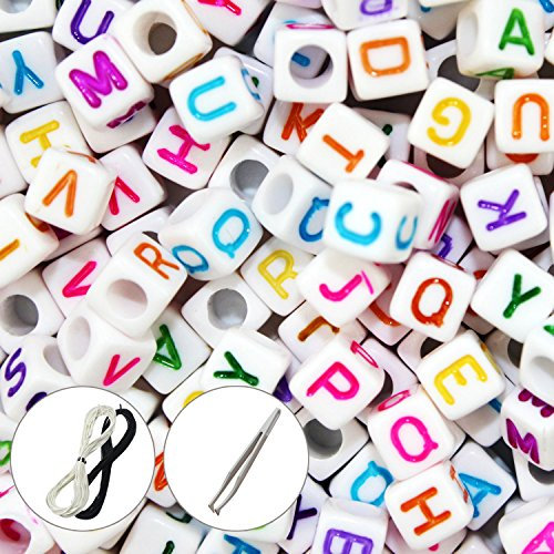 Goodlucky 600 Pcs Letter Beads with 1 Pair of Tweezers 1 White and 1 Black Cord White Alphabet Beads Mixed Color Alphabet