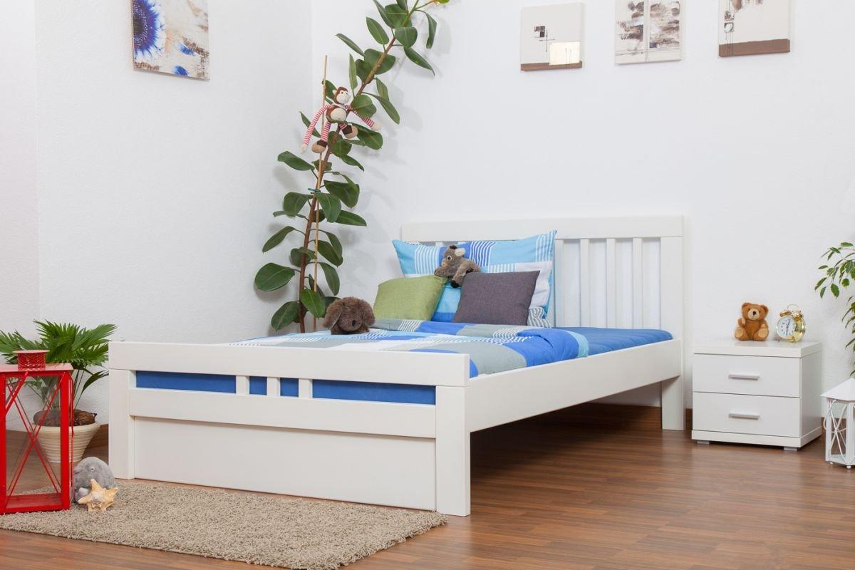 """Jugendbett """"Easy Sleep"""" K8 inkl.1 Abdeckblende, 140 x 200 cm Buche Vollholz massiv weiß lackiert kaufen"""
