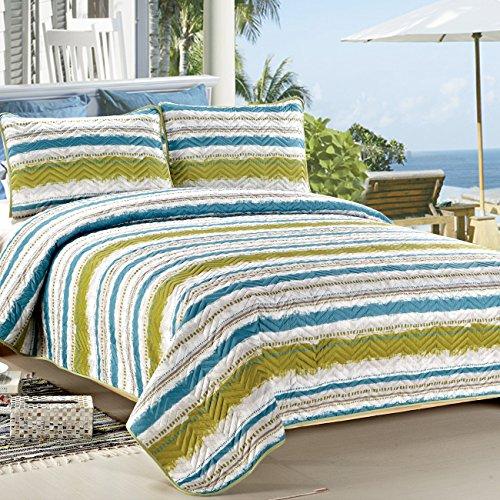 c ctn 3 piece printed lightweight summer use quilt set queen size blue stripe home garden. Black Bedroom Furniture Sets. Home Design Ideas