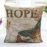4TH Emotion Butterfly Retro Home Decor Design Throw Pillow Cover Pillow Case 18 x 18 Inch Cotton Linen for Sofa(Hope)
