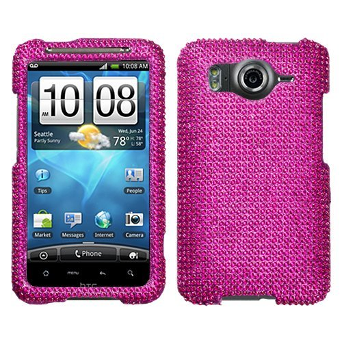 Rhinestones Protector Case for HTC Inspire 4G, Hot Pink Full Diamond