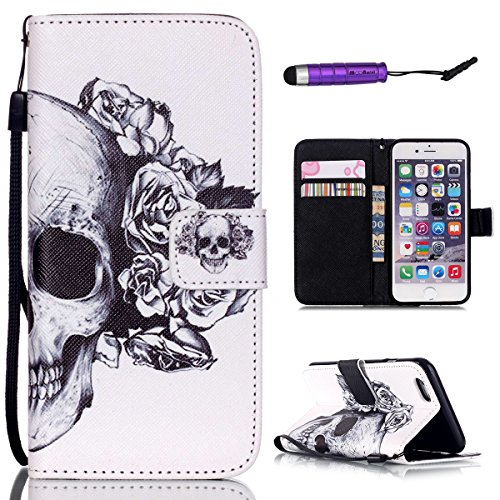 iPhone 6 / iPhone 6s 4.7 inch Custodia, Moonmini® Skull Fiore Custodia in Pelle, Chiusura Magnetica Wallet Carta Fessura Flip Cover con Cordino Bracciale