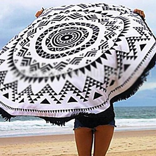 Susufaa Indian Throw Mandala Soft Round Roundie Hippy Boho Gypsy Dorm Tapestry Picnic Pad Tablecloth Curtain Wall Hanging Sofa Cover Bed Cover (Black&White Tassel) (Wall Cover Cloth compare prices)