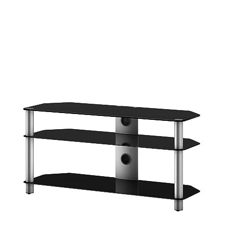 NEO 3130-NG - Mueble de TV con 3 estantes y 130 cms de ancho. Vidrio Negro / Chasis gris.