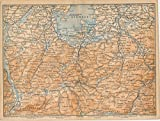 Chiemsee Lake 1893 Germany original antique color lithograph regional map