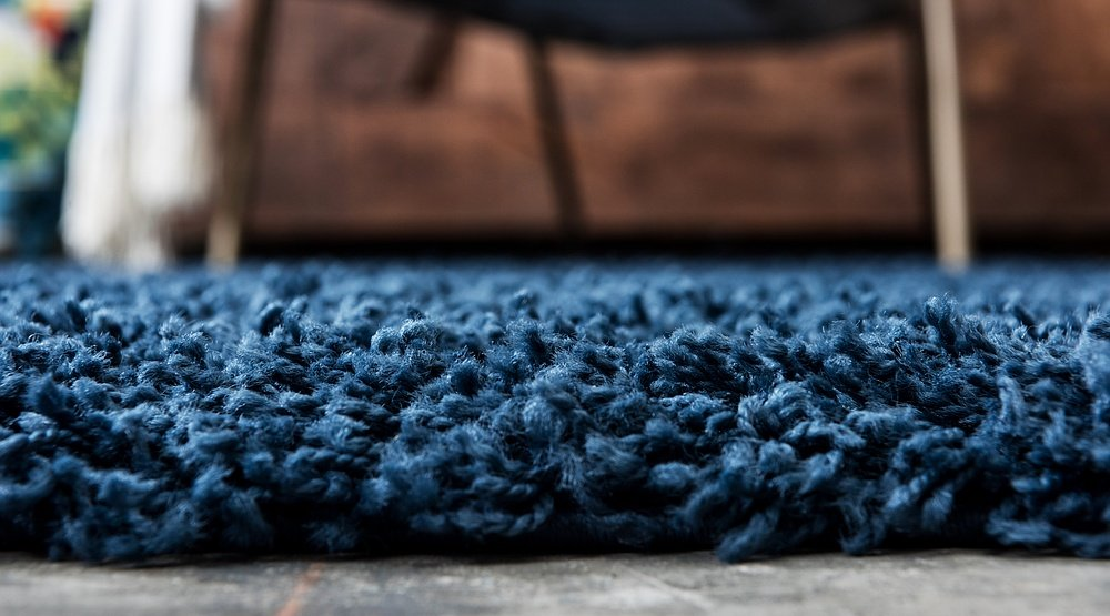 Unique Loom Solo Solid Shag Collection Navy Blue Plush Area Rug (5 x 8)