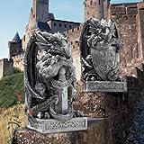 Medieval Gothic Dragon Statue Sculpture Figurine - Set of 2