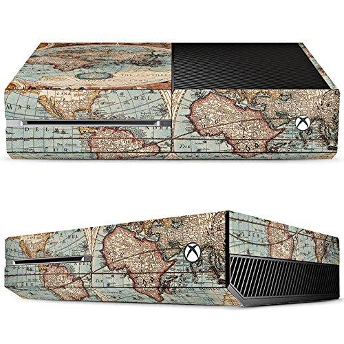 microsoft-xbox-one-case-skin-sticker-aus-vinyl-folie-aufkleber-vintage-weltkarte-karte-map