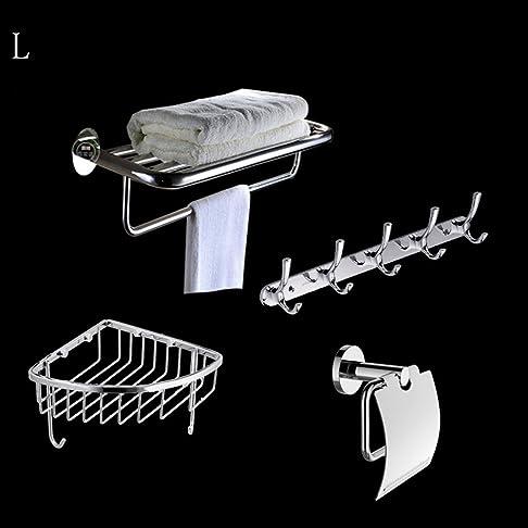 scaffali da bagno Acciaio inossidabile Pendant Set Bagno Hardware Rack Set (un totale di 4) Garantire la qualità ( Colore : L. )