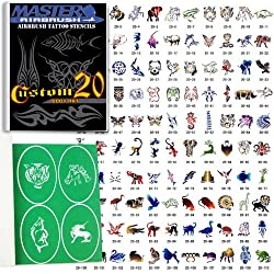 Master Airbrush Brand Airbrush Tattoo Stencils Set Book #20 Reuseable Tattoo Template Set, Book Contains 110 Unique Stencil Designs, All Patterns Come on High Quality Vinyl Sheets with a Self Adhesive Backing.