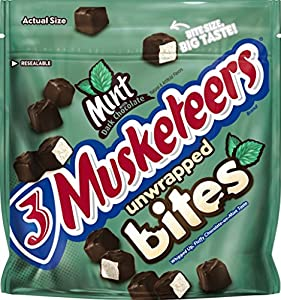 3 MUSKETEERS Mint and Dark Chocolate Bites Size Candy Bars 6-Ounce Pouch