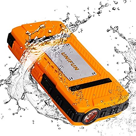 UNIFUN® - Reliable · High Capacity · 1 year warranty The U821 power bank is waterproof (IP66 rating), dustproof, shockproof and skid resistant. Its strong LED flashlight can keep lightling up to 6-8 days after fully charged. Perfect for outdoor/...