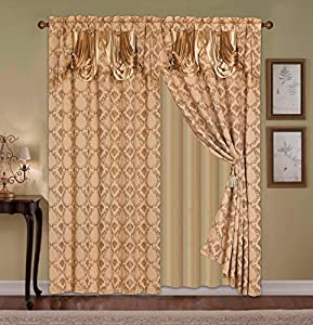 curtain jacquard 2 panel with attached valance 120 x 84 18