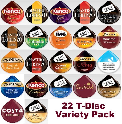 get 22 tassimo t discs pods variety pack at coffee pods capsules and accessories coffeepodking. Black Bedroom Furniture Sets. Home Design Ideas