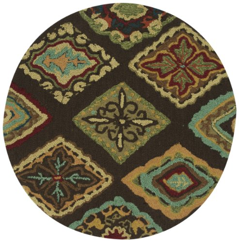 Loloi Rugs OLVAHOL02BRML300R Olivia Collection Hand-made 100-Percent Polyester Round Area Rug, 3-Feet by 3-Feet, Brown/Multi
