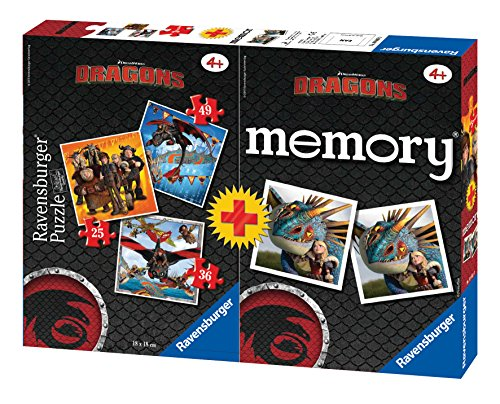Ravensburger 07068 - Dragons Multipack 3 Puzzle con 1 Memory