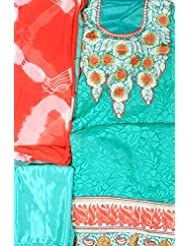 Exotic India Turquoise Designer Salwar Kameez Fabric With Patch Embroide - Green