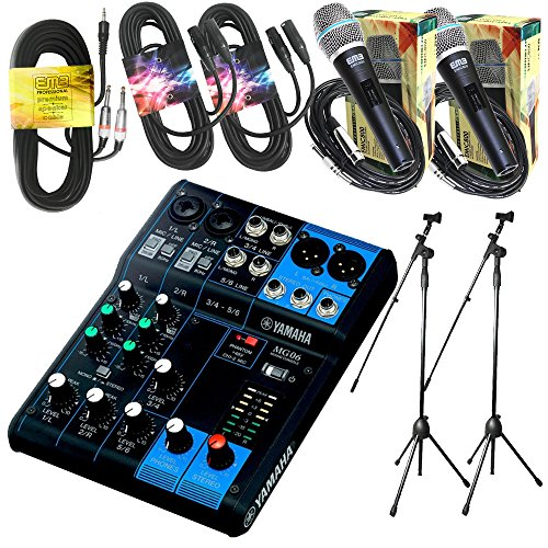 Yamaha Package Bundle - Yamaha MG06 6-Channel Mixer + 2 EMB Emic800 Microphone + 2 XLR XLarge Cables + 3.5mm to Dual 1/4